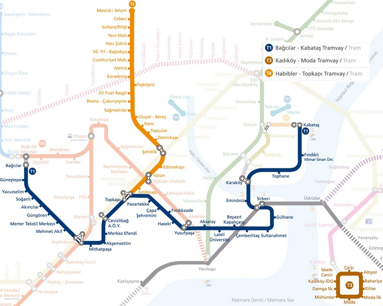 Istanbul Tramway Map